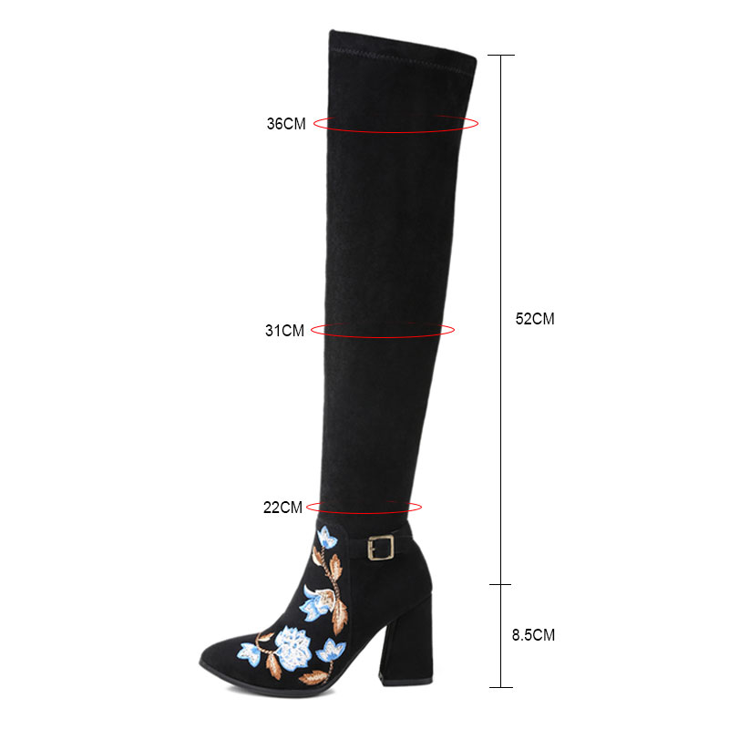 ba590d271af US $64.95 44% OFF Fanyuan Suede Sexy thigh high boots with flower embroider  Women over the knee boots Ladies Winter High heels booties size 43-in ...