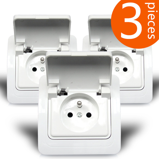 3 Pieces French Standard Wall Power Outlet Splash Socket With Cover