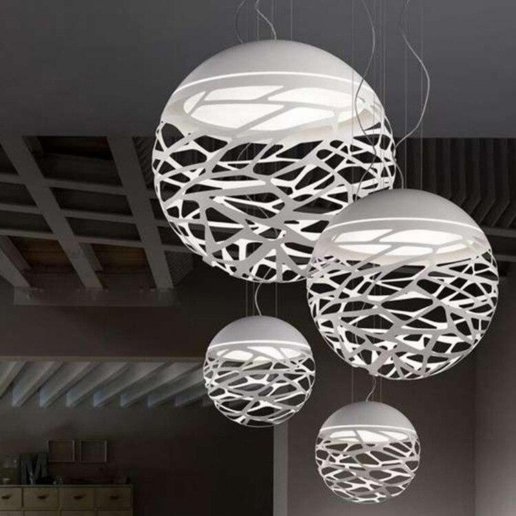 Free Shipping Modern Led Pendant Lamp White Black Painting Metal Pendant Light For Stair Dinning Living Room Hanging Lighting