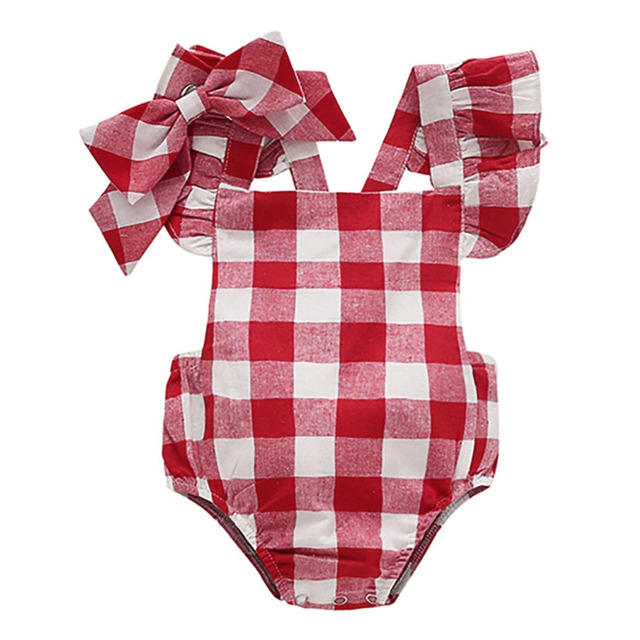092634197df9 Summer Infant Clothing Newborn Baby Girl Clothes Red Plaid Romper Jumpsuit  With Bowknot Headband Toddler Outfit Set