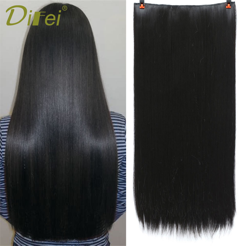 DIFEI Hiar High Tempreture Synthetic Hairpiece extension 5 length Long Straight Women Clip in Hair Extensions Black Brown ...