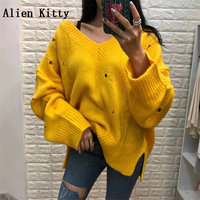 Alien Kitty 2018 Korea Fashion Autumn Winter Sweater Women V Neck Long Sleeve Holes Candy Colors Pullovers Knitted Tops 4 Colors