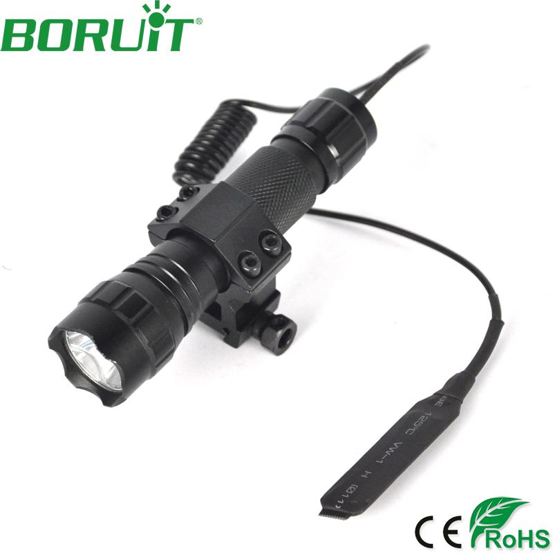 BORUiT 501B XML T6 LED Tactical Flashlight 5-Mode Portable Lantern Camping Hunting Torch Light Remote Pressure Switch Gun Mount