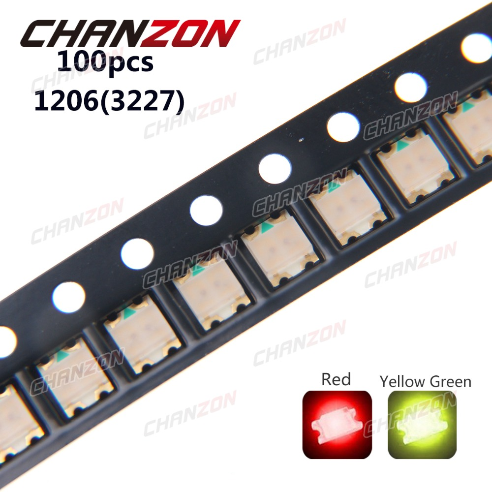 100pcs SMD 1206 (3227) LED Chip (Red Yellow - Green) 20mA 2V SMT Bicolor SMD Light Emitting Diode LED Lamp Electronic Components
