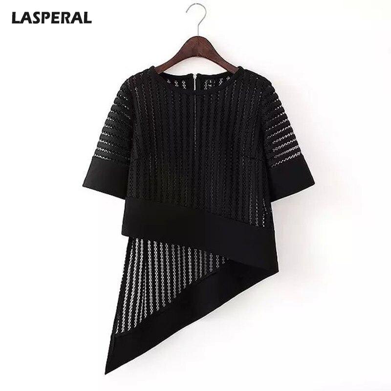 2017 nueva lasperal verano camisas de las mujeres de manga corta del o-cuello ah