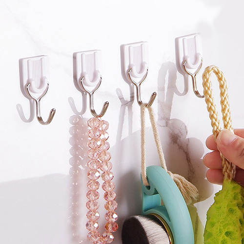 12Pcs Self Adhesive Bathroom Kitchen Stick On Wall Door Towel Holder Hook Hanger