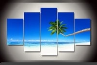 Artistic originality Indoor Art Abstract Indoor Decor H9 Palm beach print canvas poster decoratio print canvas 5 pieces