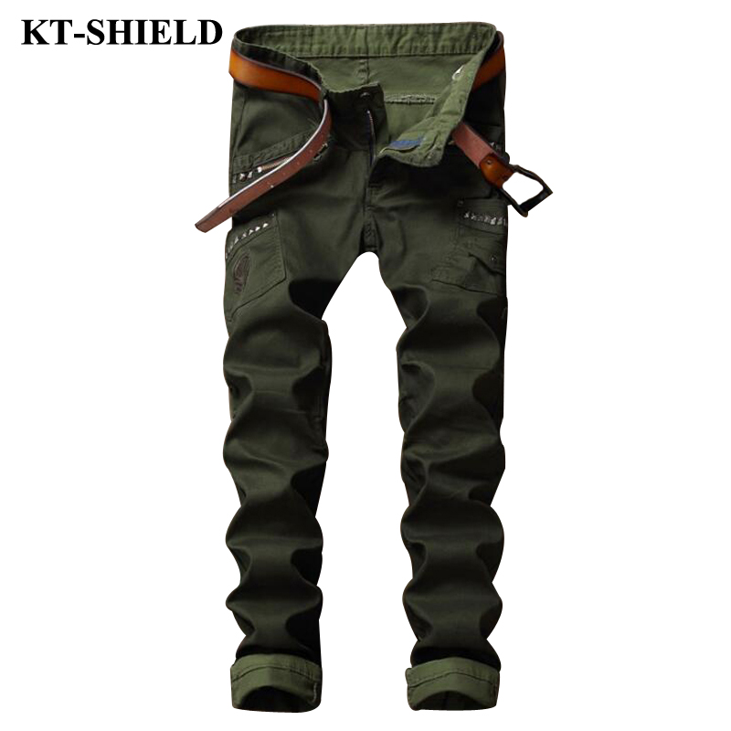 New Fashion Jeans Men Army green Denim Pans Masculina Military Tactical Trousers Male Brand Designer Slim