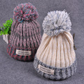 Fashion Autumn Winter Knitted Hat for Women Mixed Colors Knitting Wool Cap With Big Pom poms Earflap Winter Beanie Hat