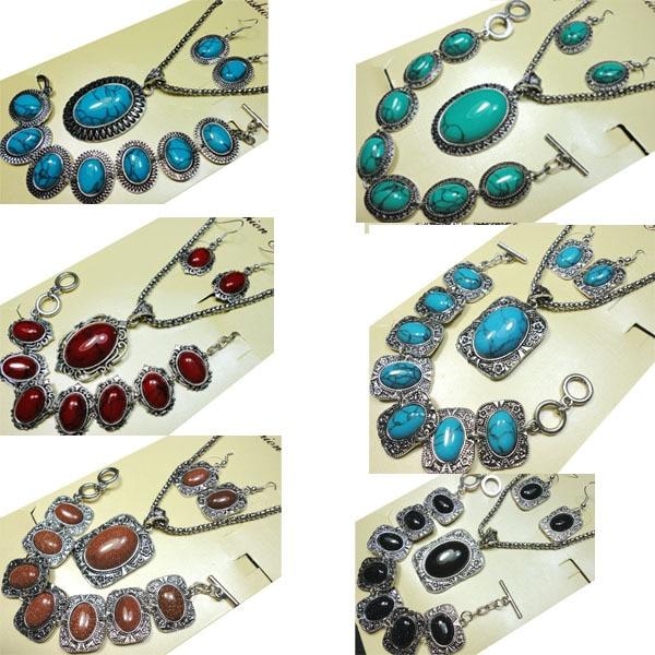 8 stílusok türkizkék kő ékszer szett Vintage antik ezüst nyaklánc szett medál fülbevaló karkötő nők grils ékszer szettek