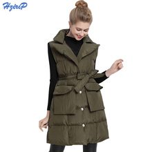HziriP Fashion Design 2017 Autumn Winter Vests Women Waistcoat Suit Collar Long Vest Office Ladies Sleeveless Jacket Coat Female