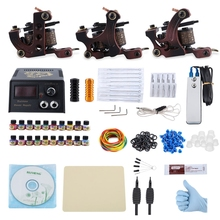 Professional Complete Tattoo Kit 3 Rotary Tattoo Machine Guns Liner 20 Pigments Power Supply System USPlug Body Beauty DIY Tools