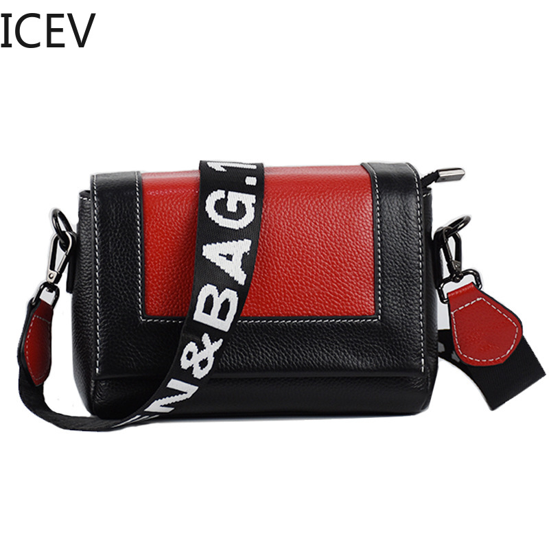 ICEV New European Fashion Simple Crossbody Bags for Women Messenger Bags Genuine Leather Bags Handbags Women Famous Brands Sac kzni genuine leather bags for women leather handbags summer woman bag 2017 small handbag women famous brands sac femme 1412