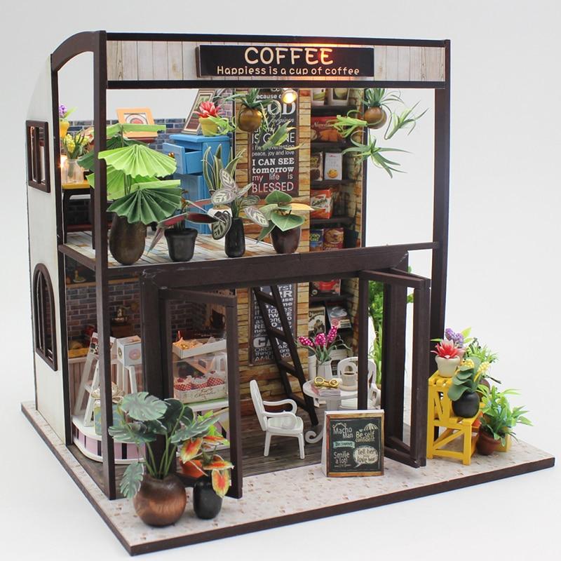Миниатюрный Кукольный Дом DIY кукольный домик с мебелью головоломка деревянный дом игрушки для Детский подарок счастье чашку Кофе M027 # E