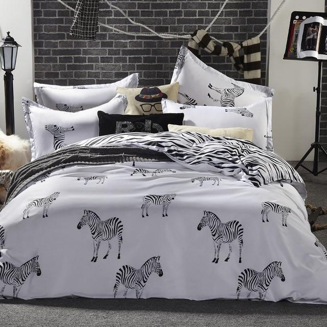 4fad527eed10f7 R$ 123.46 21% de desconto|Algodão Oversize Zebras e listras 4 pcs  Fundamentos folha + capa de edredon + fronha de almofada da cama rainha rei  tamanho ...