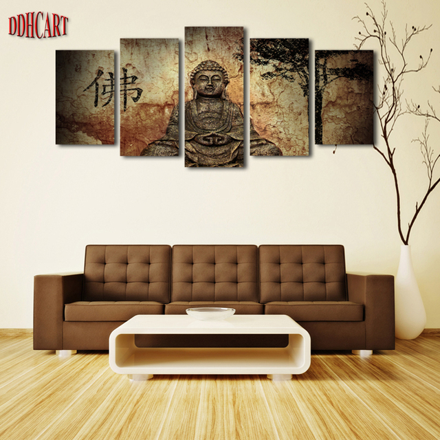 5 Piece Buddha Picture Painting On Canvas For Wall Art Home Decoration  Living Room Canvas Print