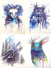 4PCS/SET Hot Sale 21X15cm Colorful  Blue Wolf  Cat Owl Fashion Cool Temporary Tattoo Combo#011