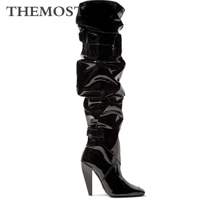 Длиной до колен Женские ботинки в осенние и зимние теплые короткие плюшевые
