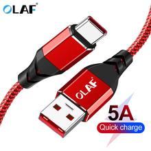 Olaf carga rápida 3.0 5a usb tipo c cabo para huawei p20 p10 p9 companheiro 20 pro 2a cabo de dados de carga rápida para samsung s9 s8 oneplus