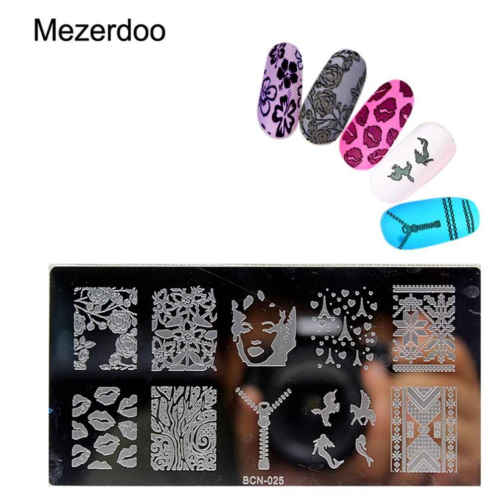 Mezerdoo Zipper Kiss Design Manicure Template Nail Stamping Plates Image Disc Transfer Print Stamping Christmas DIY Nail Tools