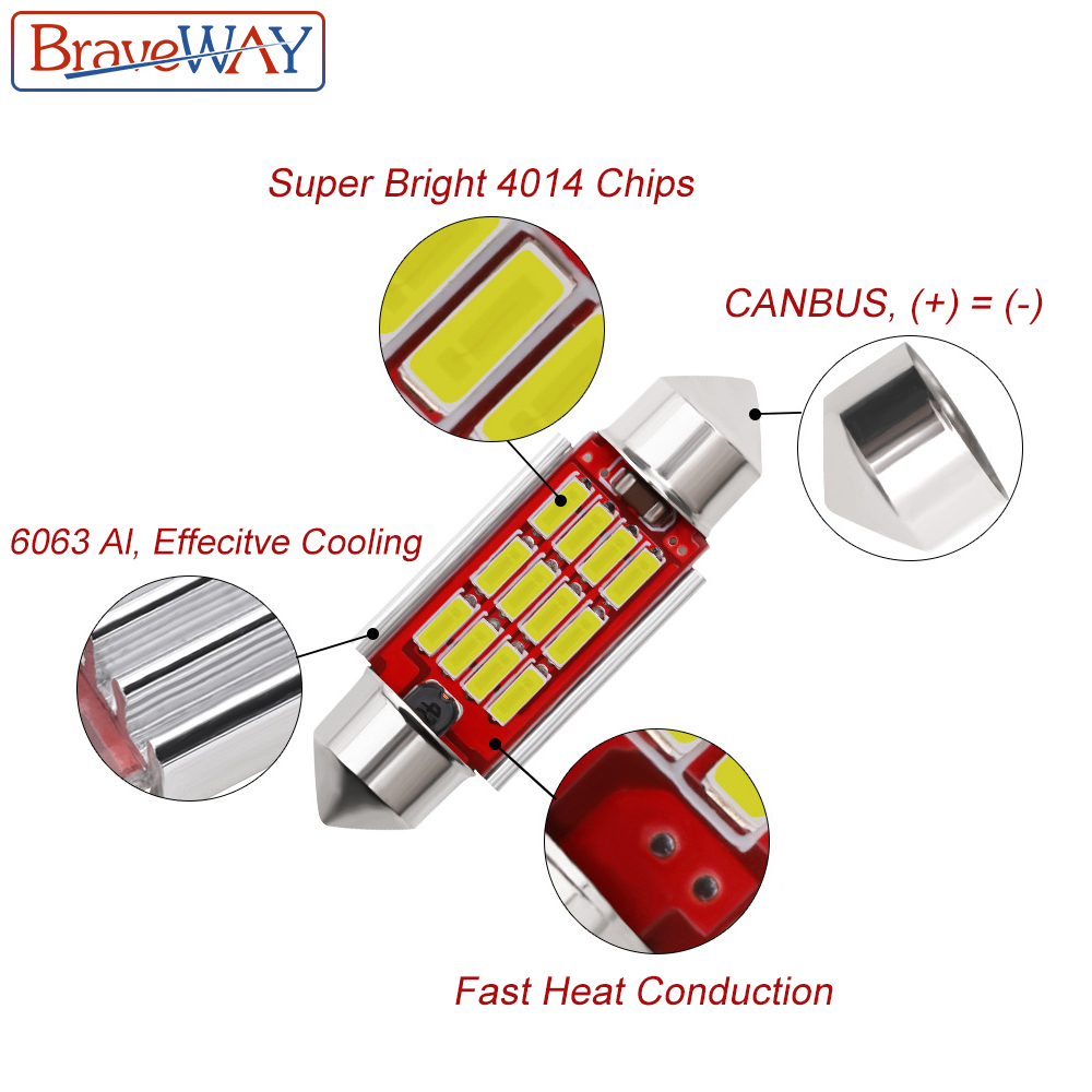 BraveWay 1PCS 31mm 36mm 39mm 41mm LED Bulb C5W C10W Super Bright 4014 SMD Canbus Error Free Auto Interior Doom Lamp Car Styling in Signal Lamp from Automobiles Motorcycles