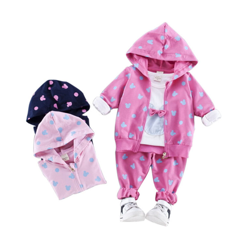 2017 Autumn Baby Clothing Set Toddler Girl Kids Cartoon Mouse Children Sport Clothes t-shirt + Coat + Pants 3 Pcs Suit Girls agkupel toddler girls t shirt children clothing kids t shirt cartoon long sleeve autumn children t shirts for kids girl clothes