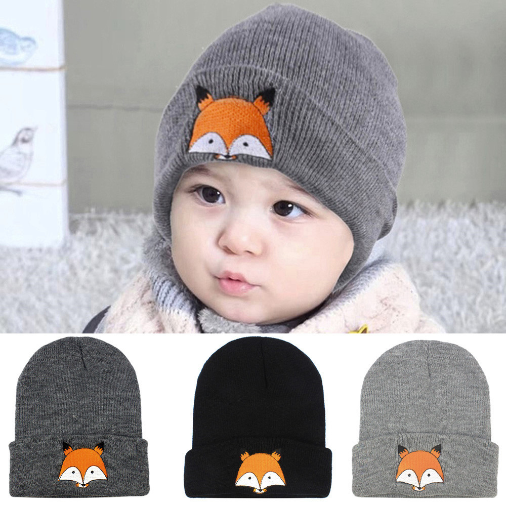 1-5Yrs Baby Hats Knitted Wool Hemming Fox Printing Toddler Autumn Winter Childrens Hat For Boys Girls Beanie Caps Newborn BTTF