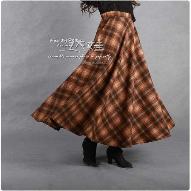 9935d99564f 2016 Europe Style Spring Autumn Winter Maxi Skirt Long Women Pleated Wool  Plaid Skirt Ankle-Length saias Femininas A-0053