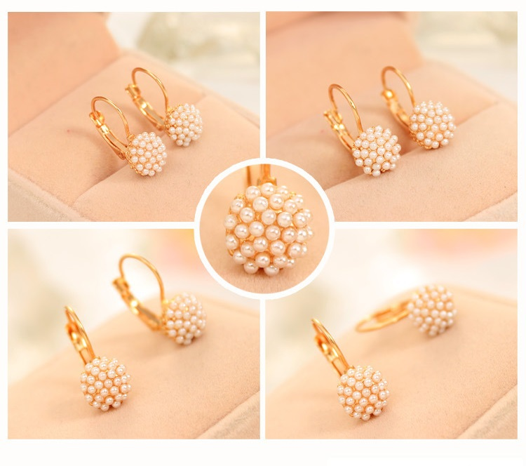 Free Shipping 2015 New Gold Earrings with Simulated pearl Design ...