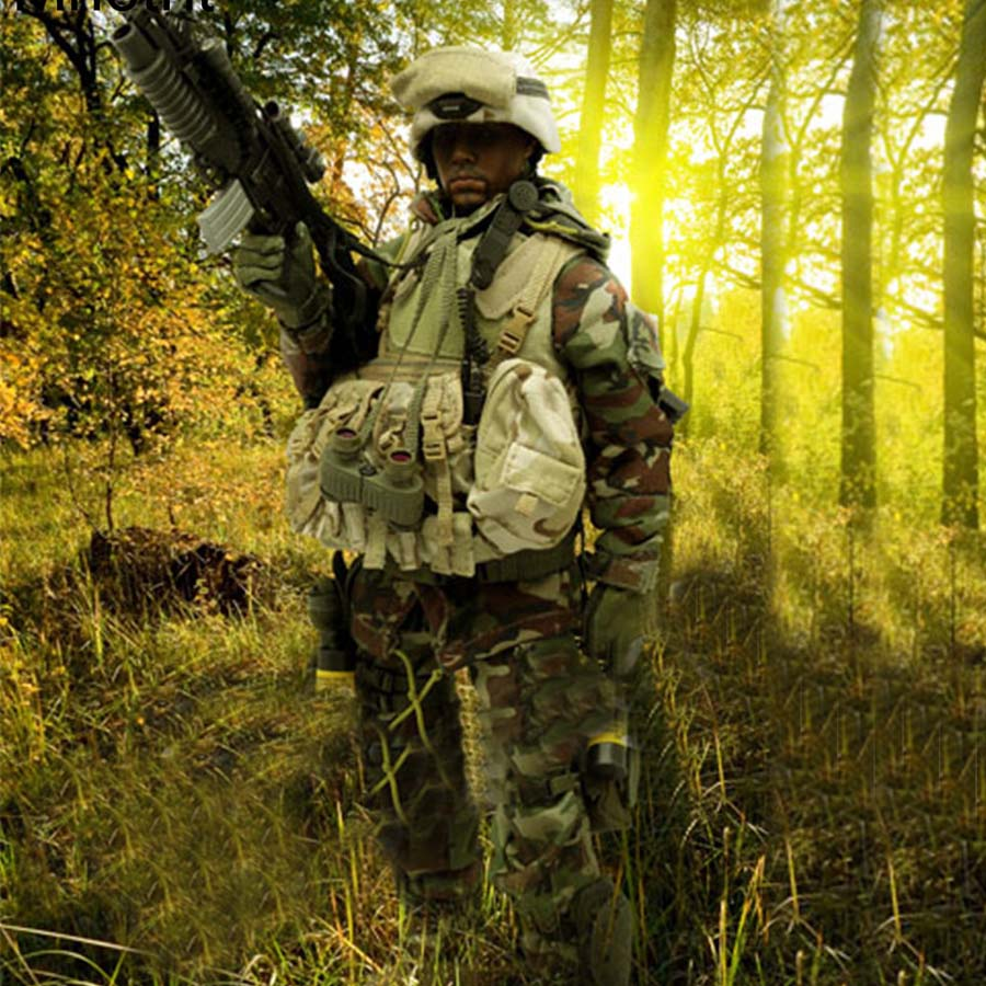 Mnotht 1/6 Male Solider US Special Forces Iraqi jungle sniper Suit Camo Clothes For 12in Action Figure Toys l30 Collection Model