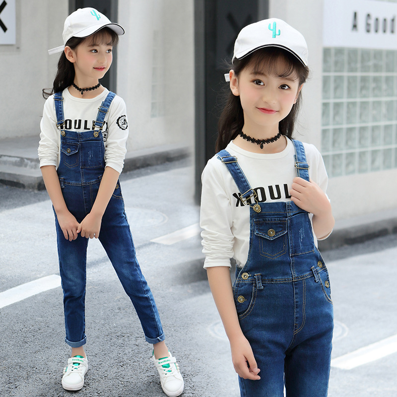 Kids Jeans Jumpsuits Girls 2018 New Fashion Autumn Winter Baby Girl Boutique Clothes Teenager Fall Denim Pant Cotton Trousers 12 new straight jeans autumn winter men s loose cowboy denim trousers plus size 28 44 46 48 man jeans bottoms