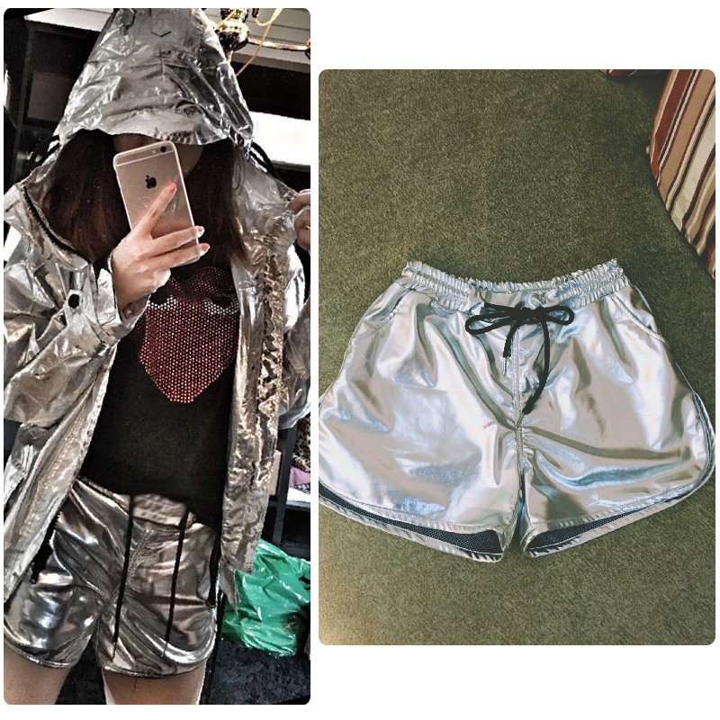 2017 Fashion Top Fashion Shorts Jeans Spicy Metamorphosis Draping Sexy Little Wide Leg Elastic Cloth Leather Hot Shorts Women
