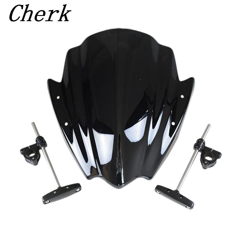 Universal Black Motorcycle Windshield Windscreen 7/8 & 1 Handlebar Mount For Harley Honda BMW Yamaha KTM