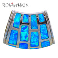 Royal style Designers High Quality ! New ! blue Fire Opal Pendants Silver Stamped Fashion jewelry OP256