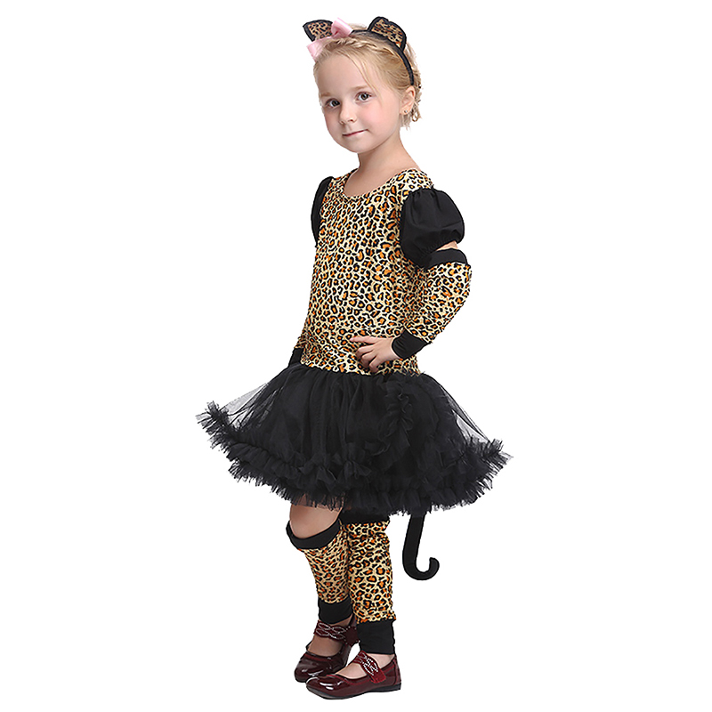ec5ddd36a796 Little Girls Cute Leopard Costume Kid Short Sleeves O Neck Tutu Dress Child  Animal Cosplay Party Outfit Gift For Baby Girls 3 8T-in Girls Costumes from  ...