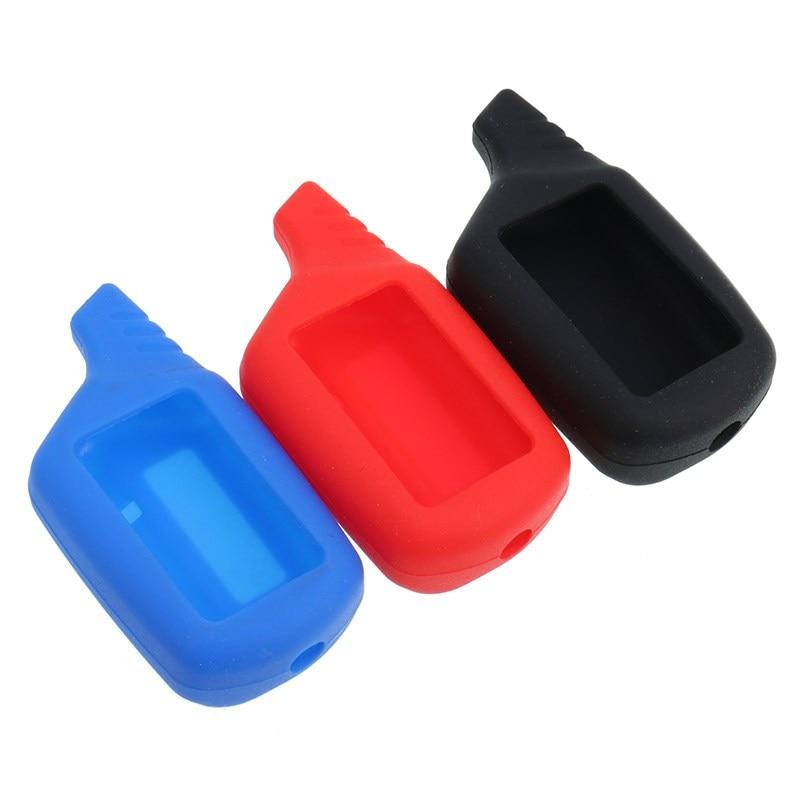 Silicone Car Alarm System Remote Control Key Case Cover Keyfob Chain Two way Car Remote for
