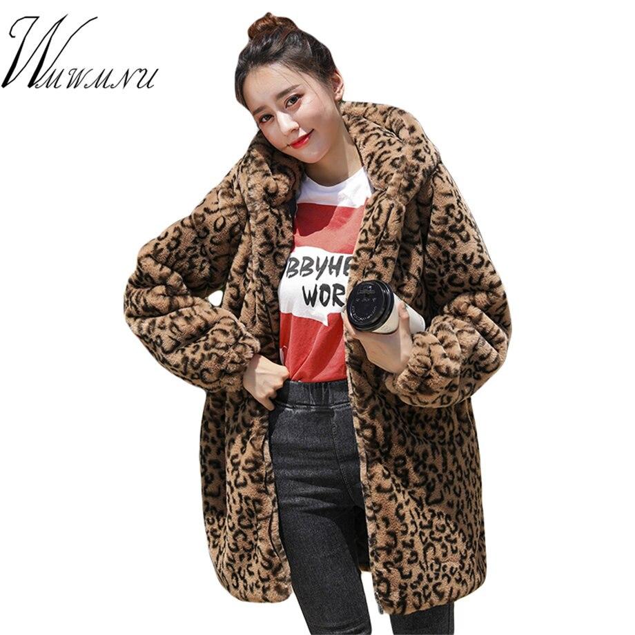 56755220fdf Fashion Leopard Print Faux Fur Coat Women 2018 Autumn Winter Warm Soft  Hooded Parka Overcoat Female