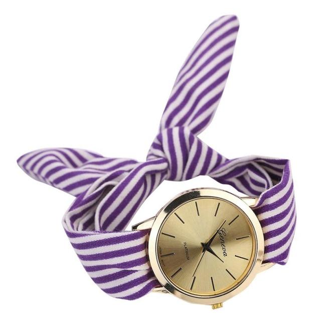 2018 New Fashion Women Watches Stripe Floral Cloth Quartz Dial Bracelet Wristwatch Watches relogio feminino Dropshipping 35