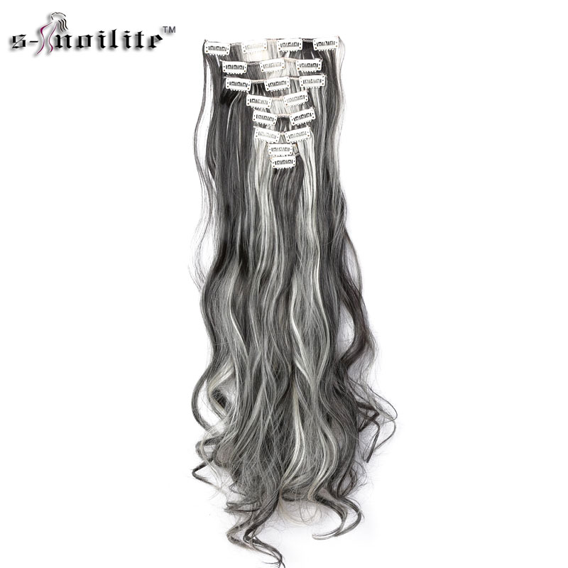 SNOILITE Hairpiece 24inch 170g Straight 18 Clips in False Hair Styling Synthetic Hair Extensions 8pcs set