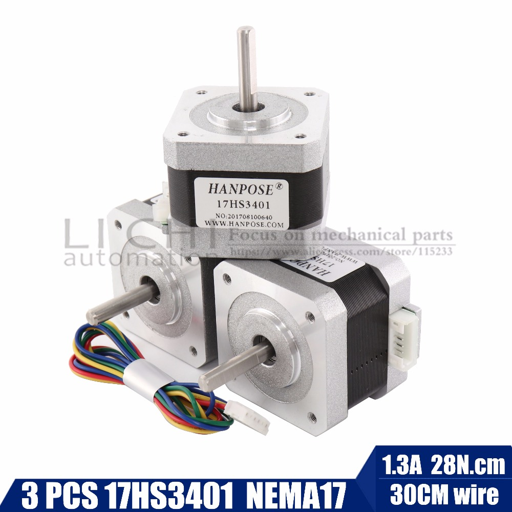 free shipping 3PCS 17HS3401 4-lead Nema 17 Stepper Motor 42 motor 42BYGH 1.3A CE ROSH ISO CNC Laser and 3D printerfree shipping 3PCS 17HS3401 4-lead Nema 17 Stepper Motor 42 motor 42BYGH 1.3A CE ROSH ISO CNC Laser and 3D printer