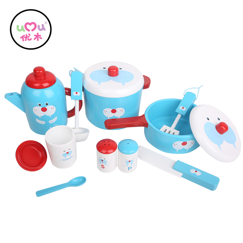 Cute Elephant Sal Table Ware Club Pretend Play Toys For Children Wooden Educational Kitchen Utensil Set Toys UQ1988H cutebee new house wooden pretend play