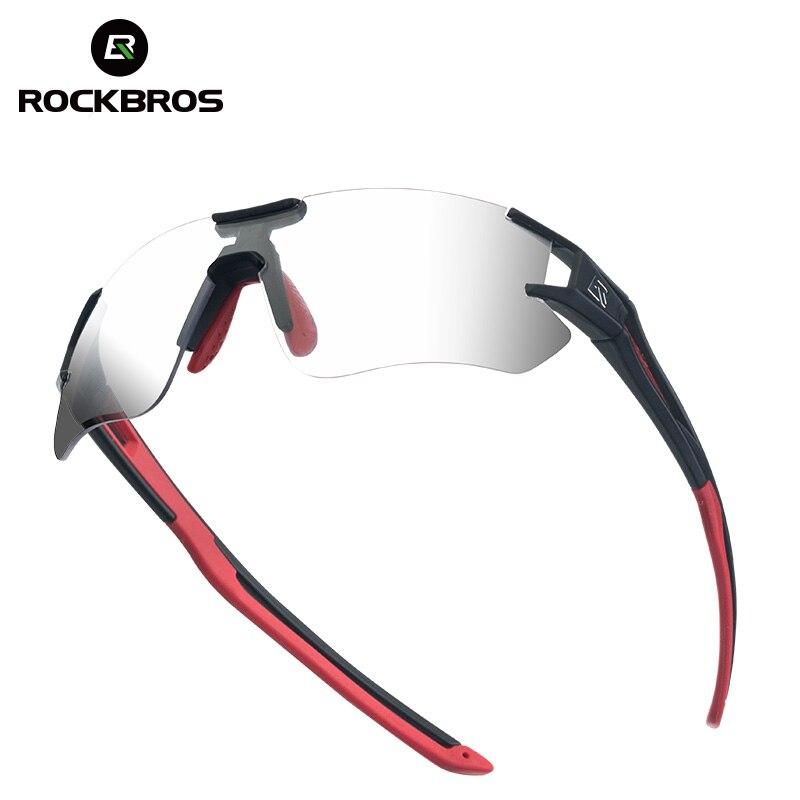 ROCKBROS Photochromic Camping Hiking Running Glasses Cycling Bicycle Sunglasses Sports Eyewear UV400 Frameless Glasses Goggles