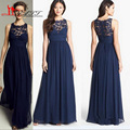 Promotion Low Price Elegant Vestidos Navy Blue Chiffon and Lace Long Cheap Bridesmaid Dress 2016 Liyatt