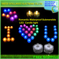 Waterproof Submersible Electronic Flameless & Smokeless LED Tealight Candle Light for party decoration,12pcs/lot