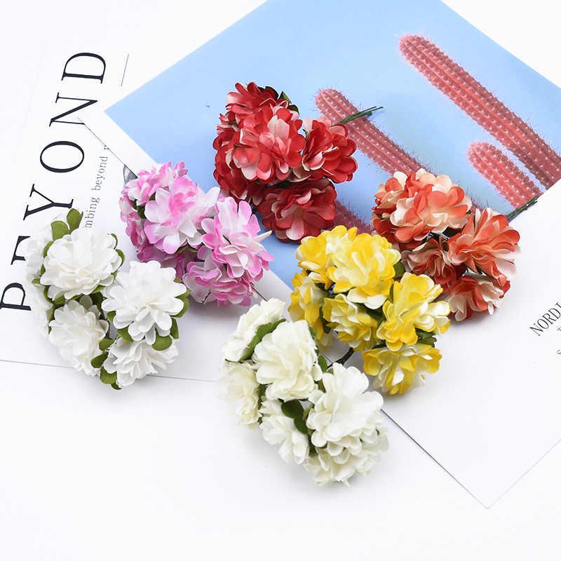 6 stück Papier Nelke blumen dekorative kranz Braut handgelenk brosche weihnachten blumen diy hochzeit geschenke box künstliche blumen