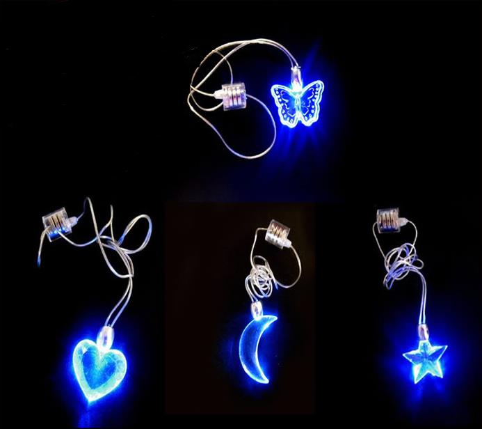 Free shipping! NOVELTY Flash LED necklace cross ,heart , STAR,butterfly decorations, wedding party, christmas, festival,gift
