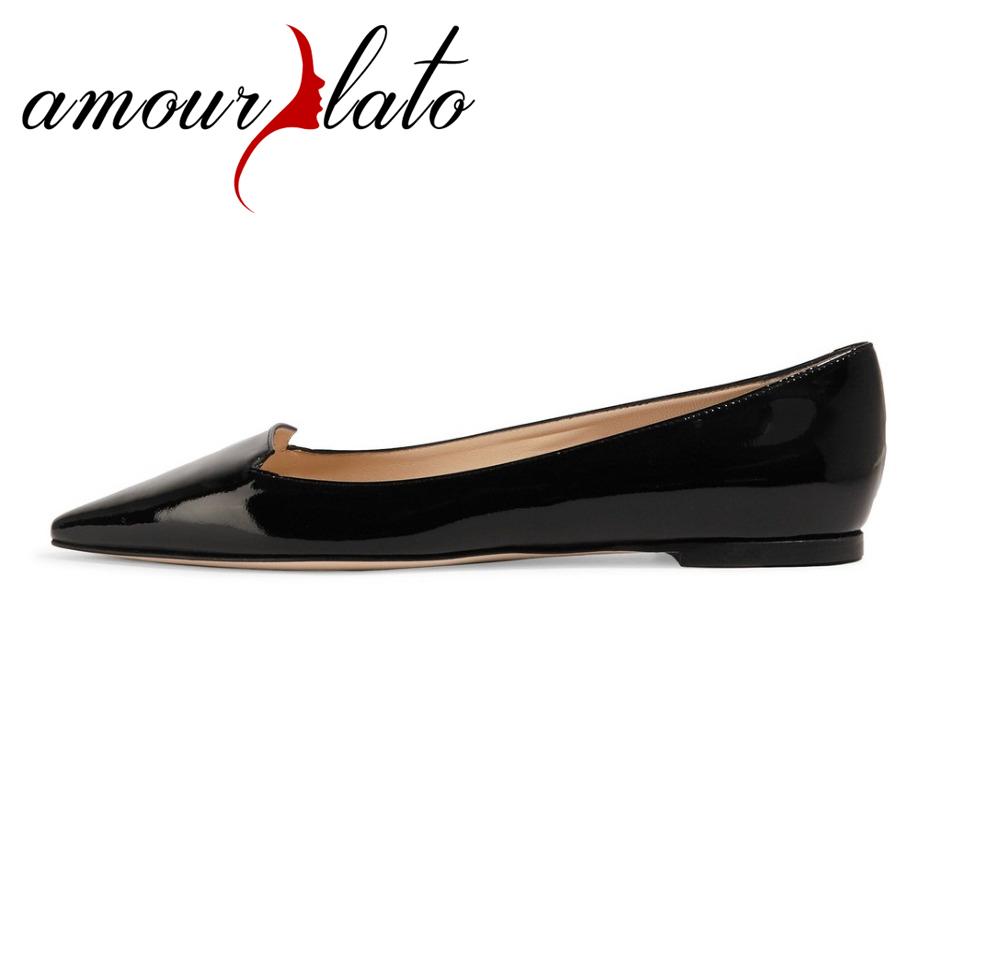 697d2915eb261 Amourplato Women s Ladies Pointed Toe Flat Shoes Closed Toe Slip-on  Ballerinas Dress Ballet Flats