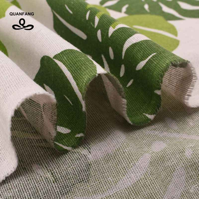 QUANFANG 葉パターンプリントのコットンリネン生地パッチワークキルティング、縫製、 DIY 、ソファ、テーブルクロス家具メートル