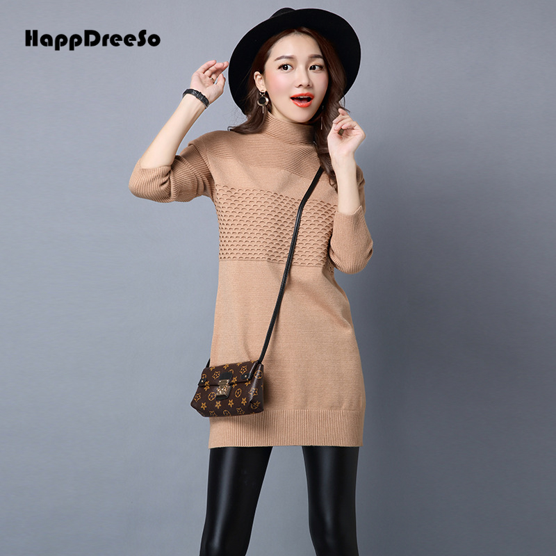 2018 Korean Autumn Winter Sweater Dress Turtleneck Long Sleeve Sexy Elegant Knitted Mini Dress Pullover Chandail