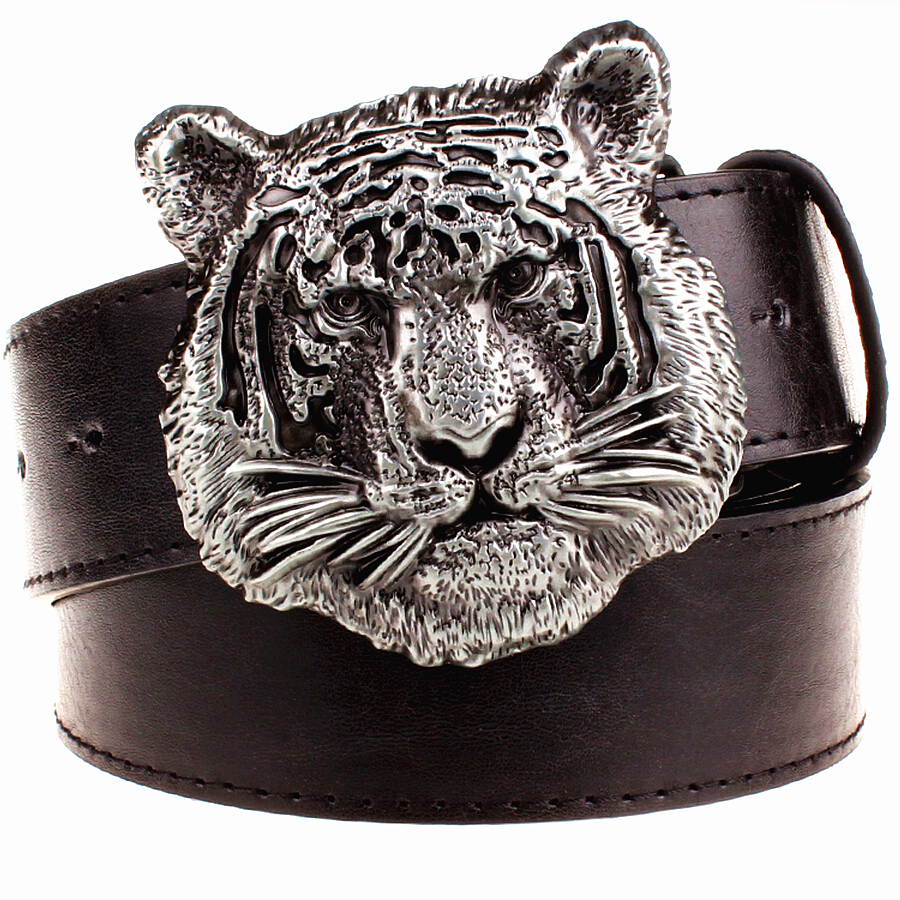 Wild personality Men's belt tiger head pattern metal buckle strap male leather belt western cowboy style belt gift for men